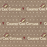 Ткань Gutermann Country Chic Cottage (коричневый с текстом)