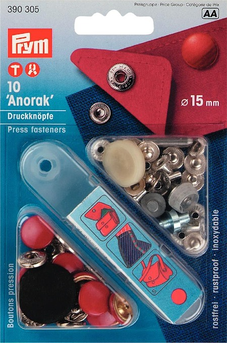 "Кнопки ""Anorak Color"" красный 15мм (10шт)"